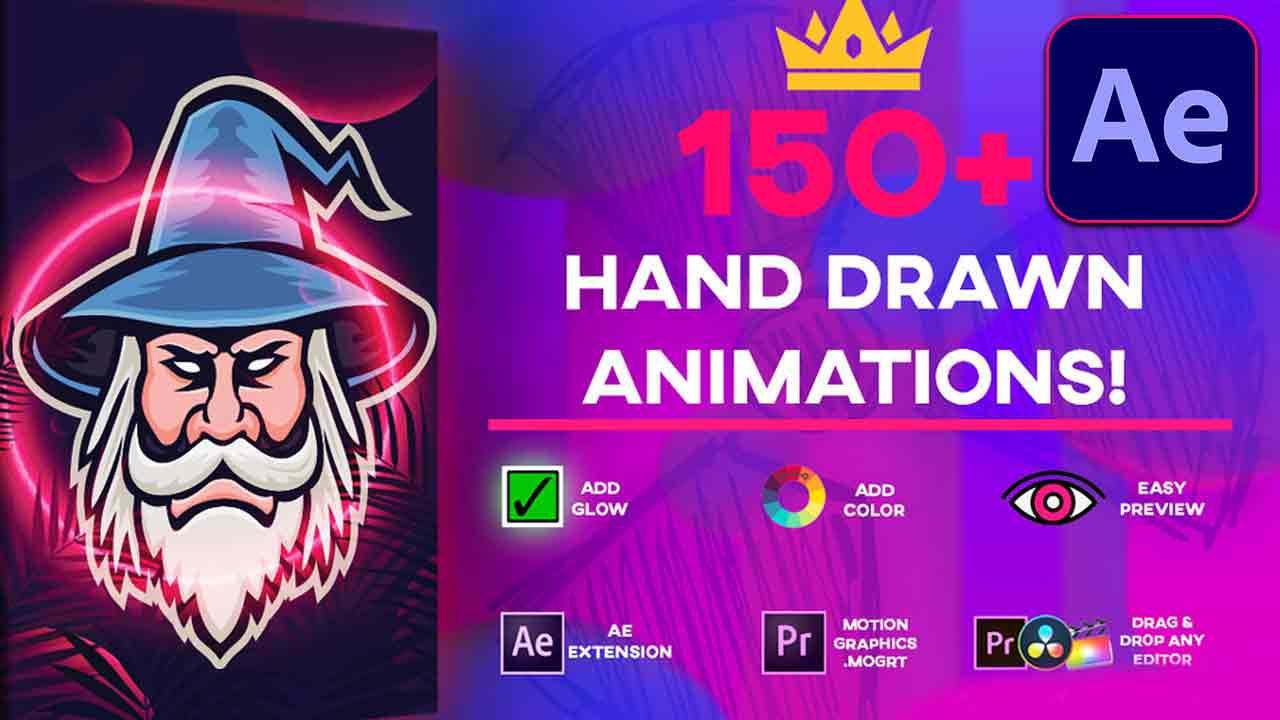 اضافة الرسوم المرسومة باليد Free Download Ultimate 150+ Animation Pack – Max Novak / Media Monopoly – AE Plugin – Premiere .MOGRT